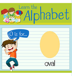 Flashcard letter o is for oval vector