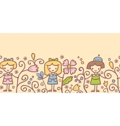Girls with flowers horizontal seamless pattern vector image