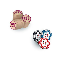 Kegs for bingo lotto game and casino chips tokens vector