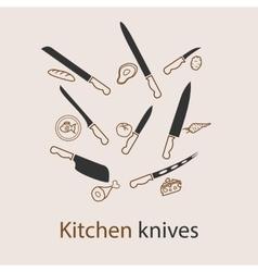 Kitchen knives set vector image