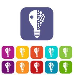 light bulb icons set flat vector image