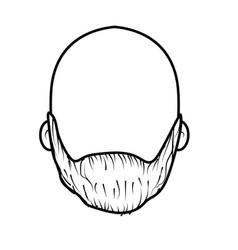 Line nice man face with beard and bald vector