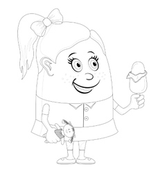 Little girl with ice cream contour vector image vector image