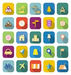 Location color icons with long shadow vector image vector image