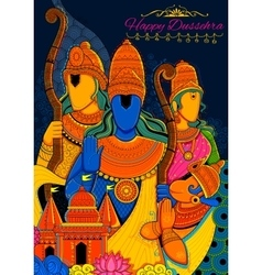 Lord ram sita laxmana hanuman and ravana in vector