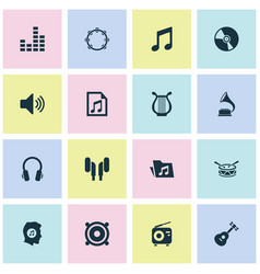 Music icons set collection of cd dossier vector