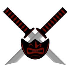 Samurai sword and mask logo vector