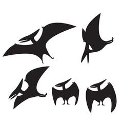 Set of pterodactyl silhouette vector