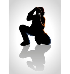 Silhouette of a photographer vector image