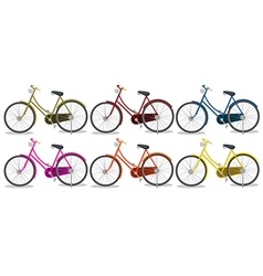 Six colorful bikes vector image vector image