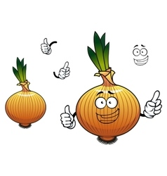 Sprouted cartoon golden onion vegetable character vector image