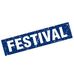 Square grunge blue festival stamp vector