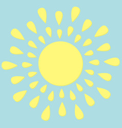 Sun round icon yellow rays of light cute cartoon vector