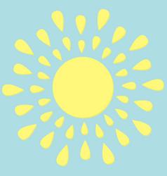 Sun round icon yellow rays of light cute cartoon vector
