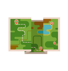 the map with the route vector image vector image
