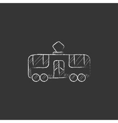 Tram drawn in chalk icon vector