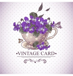 Vintage Floral Background with Violets in a Cup vector image