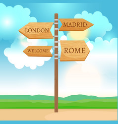 Wooden way direction sign vector
