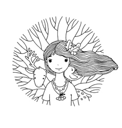 Young beautiful girl fairy deer bird and tree vector