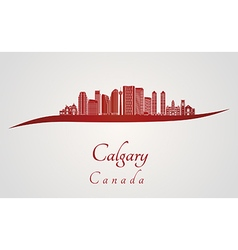 Calgary V2 skyline in red vector image