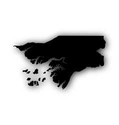 Map of guinea-bissau with shadow vector