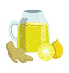 Lemon and ginger smoothie non-alcoholic fresh vector