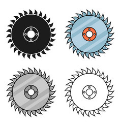 Saw disc icon in cartoon style isolated on white vector