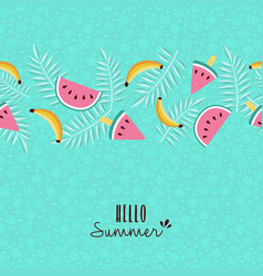 Hello summer tropical fruit pattern greeting card vector