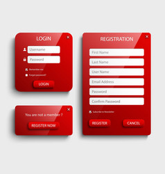 Collection red login and register web screen vector