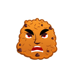 Cookies angry emoji biscuit emotion aggressive vector