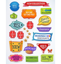 Multicolored set of promotional english labels vector