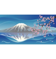 Branch of sakura and volcano vector