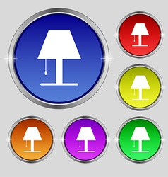 Lamp icon sign round symbol on bright colourful vector