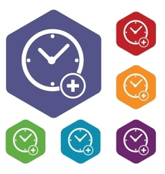 Add time hexagon icon set vector