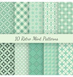 Retro mint different seamless patterns vector