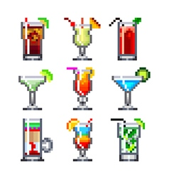 Pixel cocktails for games icons set vector