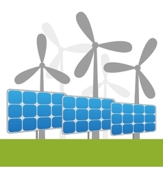 Solar and windmills power plants vector