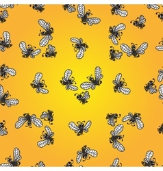 Seamless pattern with doodle bees vector
