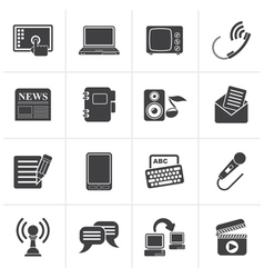 Black communication and connection icons vector