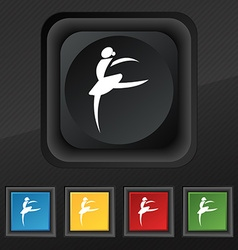 Dance girl ballet ballerina icon symbol set of vector