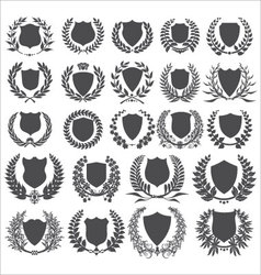 shields and laurel wreath - collection vector image