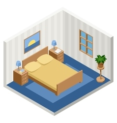 Interior of the isometric bedroom with furniture vector