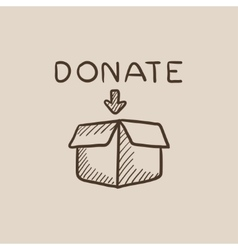 Donation box sketch icon vector