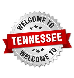Tennessee 3d silver badge with red ribbon vector