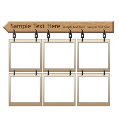 Wooden board with empty frames vector