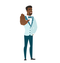 African-american groom showing palm hand vector