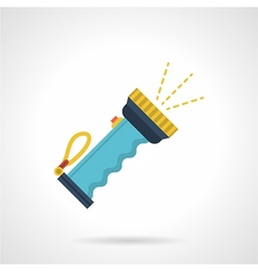 Blue flashlight flat icon vector image