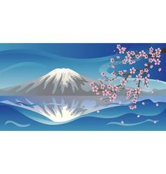 Branch of Sakura and Volcano vector image vector image