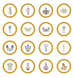 Castle tower icons circle vector