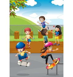Children and playground vector
